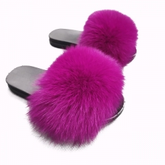 Flash Sale 2019 New Women Flat Sandals Fur Slides Fur Slipper in Hot Pink