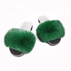 Flash Sale New Arrival Women Real Fluffy Fur Flip Flops Slides in Green