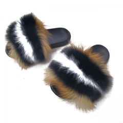 Fox fur slippers,Fur slides,Fox fur sandals