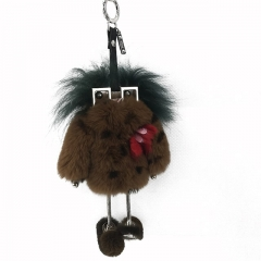 Fashion Bag Charm Genuine Fur Keychain Luxury Fur Pendent