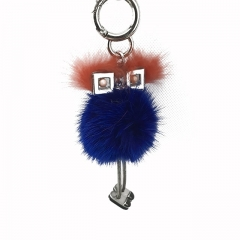 Popular Cute Robot Real Mink Fur Keychain