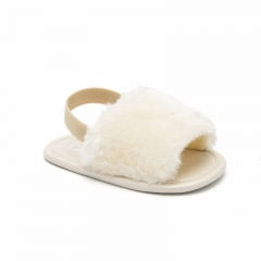 2019 New Fashion Faux Fur Baby Summer Shoes Cute Infant Baby Sandals Slippers