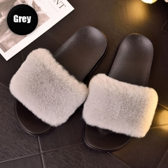 2019 hot sell candy color Winter fenty faux Fur Slides for women
