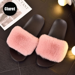 Latest Design Wholesale Fashion Summer Custom Logo Casual Plush Leather Mink And Faux Fur Sandal Footwear Ladies Slipper Slides