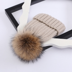 Winter Soft Double Layer Warmer Natural Raccoon Fur Pompom Ball Beanie Hat Pom Pom Detachable Hand Knitted Hats