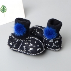 Real faux fur baby shoes infant warm fluffy boots