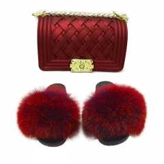Jelly purse and fox fur slides