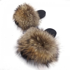 Flash Sale Natural Colour Raccoon Fur Slides With Big Fluffy Fur