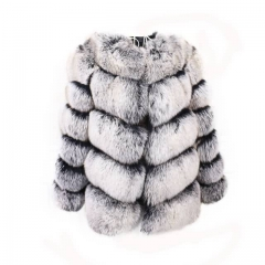 High Quality Short Style Fox Fur Coat-black with white top