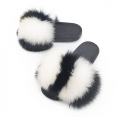 black and white strip big fur fox fur slides
