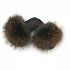solid colour fluffy raccoon fur slides