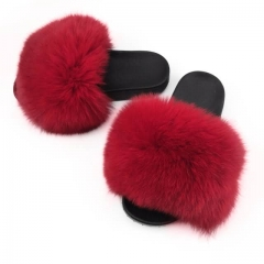 red fox fur slides solid color