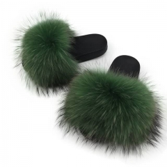 green raccoon fur slides solid color