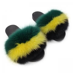 yellow green style fuzzy fur slides