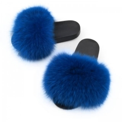 luxury style women fur sandals -blue solid color