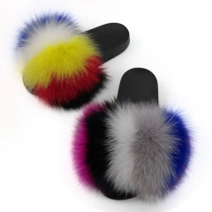Furry Fox Fur Slides rainbow