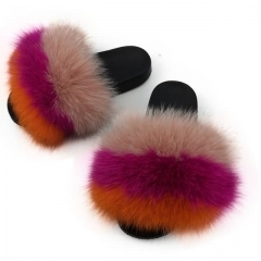 luxury style women fur flat slides fox fur slipper
