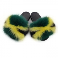 Jamaica Style Real Fox Fur Slides Sandals