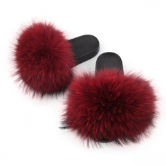 red raccoon fur slides solid color
