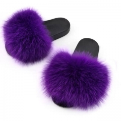 soft real fox fur slides-purple