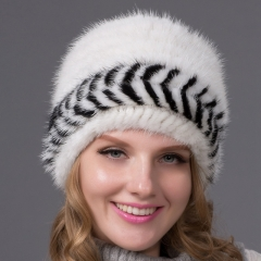 2019 New Design White Woven Hat Women Mink Fur Knitted Winter Hats