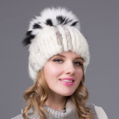 Women Winter Warm Knitted Mink Fur Hat With Fur Pom Poms