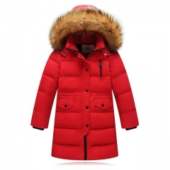 Fur Collar Hooded long down Coats Kids Warm New Fashion Children Winter Jacket