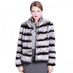 Short Style Real Rex Rabbit fur Jacket Chinchilla color Genuine fur coats