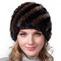 Women Winter Warm Knitted Mink Fur Hat