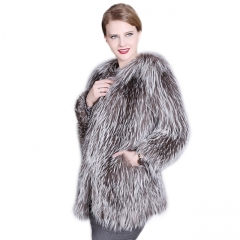 Silver Fox Fur Coat Women Gorgeous Winter Jacket With Fur