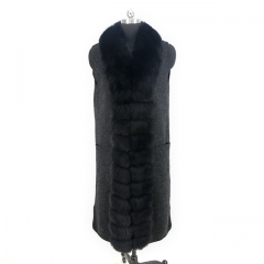 2019 Winter Long Black Women Cashmere Vest With Luxury Fox Fur Collar