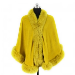 New Arrival Women Cashmere Cape Fox Fur Poncho Fashion Warm Fur Capes