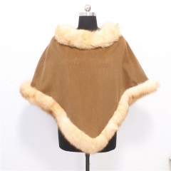 Elegant Camel Real Fox Fur Trim Poncho Cashmere Cape for Lady