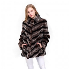Brown Color Long Sleeve Rex Rabbit  Fur Jacket Chinchilla Genuine Fur Coats