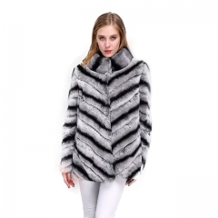 Stand Collar Long Sleeve Rex Rabbit  fur Jacket Chinchilla color Genuine fur coats