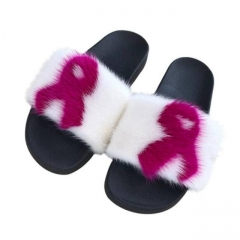 October Breast Cancer Awareness Month Mink Fur Slides