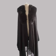 Fashion trend ladies luxury faux fur cape with fur collar
