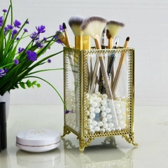 Gold Brass Glass Jewelry BOXES Cosmetic Organizer Box