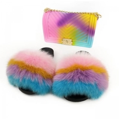 neon large fur slides with maching jelly purse
