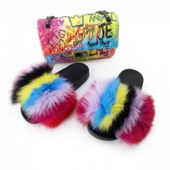 full cover fur slides with maching graffiti purse