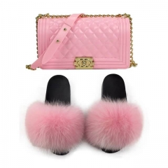 Wholesale Baby Pink CC Jelly Purse With  Baby Pink Fur Slippers Matched
