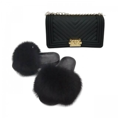 Black Jelly Purse with black fur slipper
