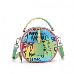 Round Bag Graffiti Circle Crossbody Circle Purse for Women