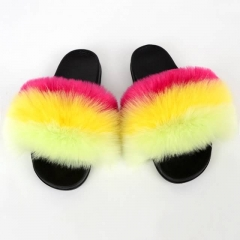 Horizontal Strip Fashion Fluffy Sandals Fox Fur flip flop