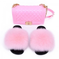 solid fox fur slides with maching jelly purse