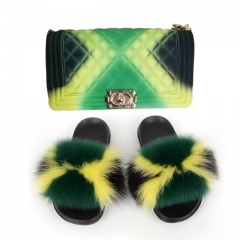 commercial grade muticolor fur slides with maching jelly purse cheap pricing