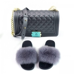 commercial grade fur slides with maching jelly purse cheap pricing