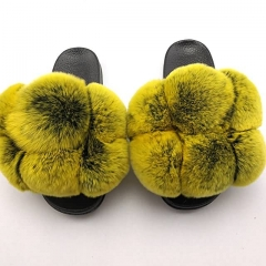 2020 New Style Large Fur pom pom slides fox fur slippers