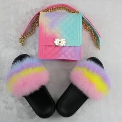 Neon Fox Fur Slippers with Matching Jelly Phone Bag Set