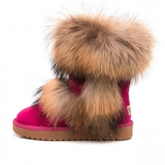 Ladies Winter Boots Genuine Cowhide Leather Mid-calf Warm Boots Women Boots With Raccoon Fur Trim